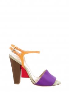 Sandales à talon et bride cheville en tissu multicolore Px boutique 550€ Taille 35,5