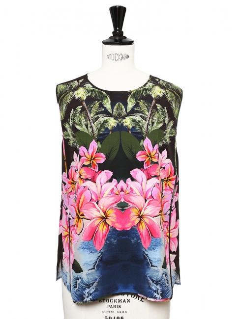 Hawaiian-print silk sleeveless tank top Retail price €635 Size 36