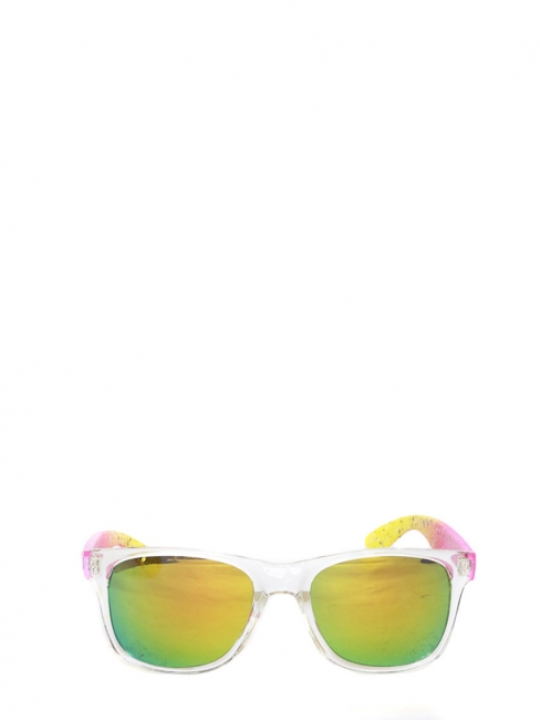 Mirror lenses sunglasses with neon yellow pink frame NEW