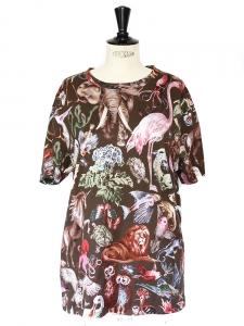 Brown animal print cotton t-shirt Retail price €390 Size 36/38