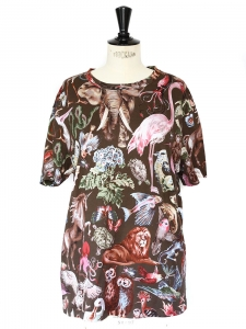 T-shirt en coton marron imprimé animal flamant rose, éléphants Px boutique 390€ Taille 36/38