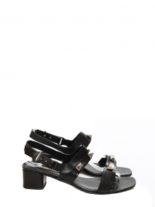 Low heel black sandals embellished with silver studs Retail price €450 Size 38