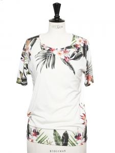 T-shirt manches courtes blanc imprimé tropical Taille S/M