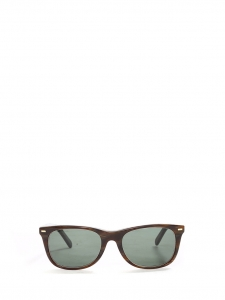 Wayfarer style dark brown sunglasses with green lens Retail price €380
