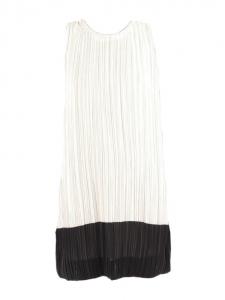 Robe sans manches plissée noir et ivoire Px boutique 265€ Taille 38