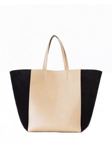 Sac cabas tote PHANTOM bicolore en cuir et suède beige et noir Px boutique 1650€