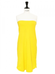 Sunny bright yellow cotton strapless dress Retail price €150 Size XS