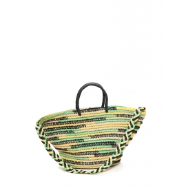Natural beige, yellow, green and black straw cabas bag NEW