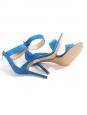 Sandales à talon en suède bleu roi et bride cheville NEUVES Px boutique 629€ Taille 36