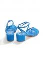 Sandales à petit talon bride cheville en suède bleu électrique NEUVES Px boutique 450€ Taille 38