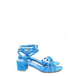 Electric lagoon blue suede leather low heel sandals Retail price €450 Size 38