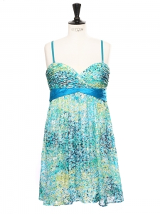 Gold blue yellow and green printed silk strapless evening dress NEW Retail price €385 Size 38
