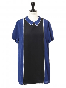 Navy blue and black silk mini dress Retail price €350 Size 36