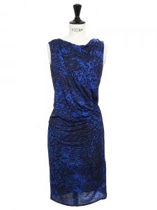 Robe sans manches dos nu en jersey drapé bleu et noir Px boutique 290€ Taille 34/36