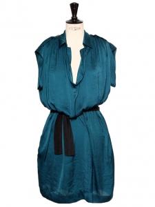 Robe fluide bleu paon sans manche col chemise Px boutique 1200€ Taille 36