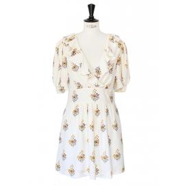 Robe décolletée manches courtes en crêpe de soie écru imprimé fleuri Px boutique 1200€ Taille 36/38