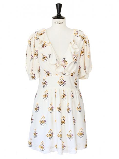 Floral printed ecru silk crêpe short sleeves décolleté dress Retail price €1200 Size 36/38