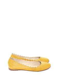 Sunny yellow leather Scalloped ballerina flats Retail price €395 Size 37.5