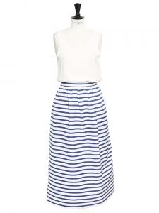 Jupe longue marinière taille haute en soie et coton rayée bleu marine et blanc Px boutique $300 Taille 34