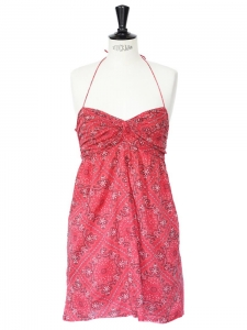 Bandana paisley print soft red cotton strapless dress Size 36
