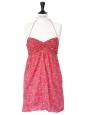 Bandana paisley print soft red cotton strapless dress Size 36