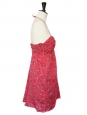 Robe bustier en coton léger rouge imprimé bandana noir et beige Taille 36