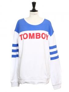 Sweatshirt TOMBOY blanc imprimé bleu et rouge Taille 38