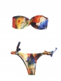 PURAMANIA yellow blue and red flower print bandeau bikini Size 36
