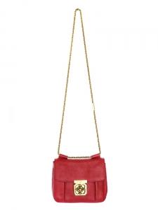 Sac ELSIE small à bandoulière chaîne en cuir grainé rouge cerise Px boutique 1000€