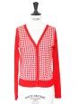 Gilet col V en coton rouge motif carreaux blanc Prix boutique 150€ Taille 36