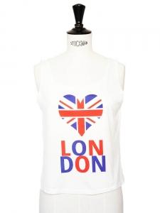 Débardeur en coton bleu rouge et blanc imprimé I love London Taille 34/36
