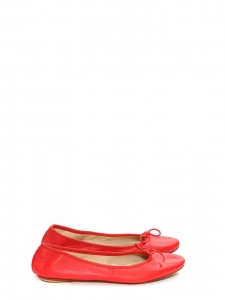 Foldable red lambskin leather ballet flats Retail price €125 Size 39