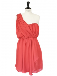 Dark coral red silk one shoulder dress Retail price $545 Size S/M