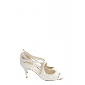 Silver white faux leather heeled sandals Retail price €600 Size 37