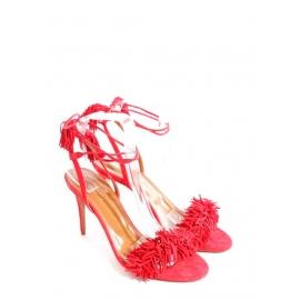 Sandales Wild Thing à franges et talons fins en suede rouge NEUVES Px boutique €575 Taille 38,5