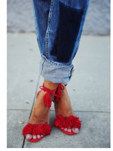 WILD THING fringe bright red suede leather thin heel sandals NEW Retail price €550 Size 38.5
