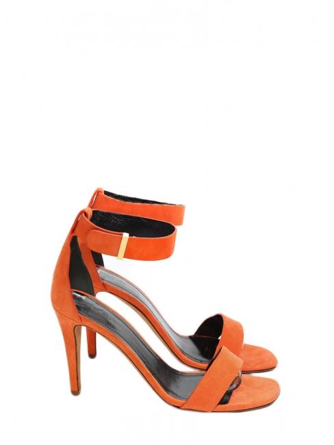c1120491619e9 Sandales ICONIC à talon en suède orange et bride cheville NEUVES Px boutique  550€ Taille