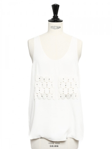 Off white silk-blend tank top embroidered with Swarovski crystals Retail price €750 Size M