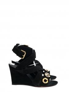 Sandales compensées GOLDEN HOUR en suède noir et découpe rounds NEUVES Px boutique 874€ Taille 38