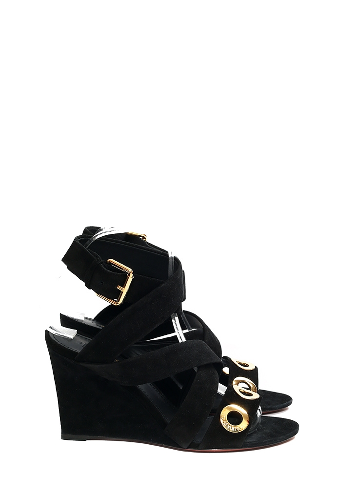 Sandales compensées GOLDEN HOUR en suède noir et découpe rounds NEUVES Px  boutique 874€ Taille ... 39289bff5ddf