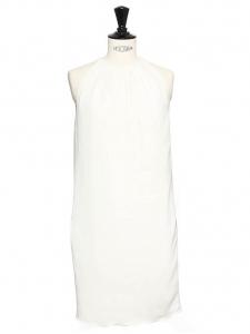 Robe de cocktail en crêpe blanc ivoire épaules dénudées Px boutique 2000€ Taille 38