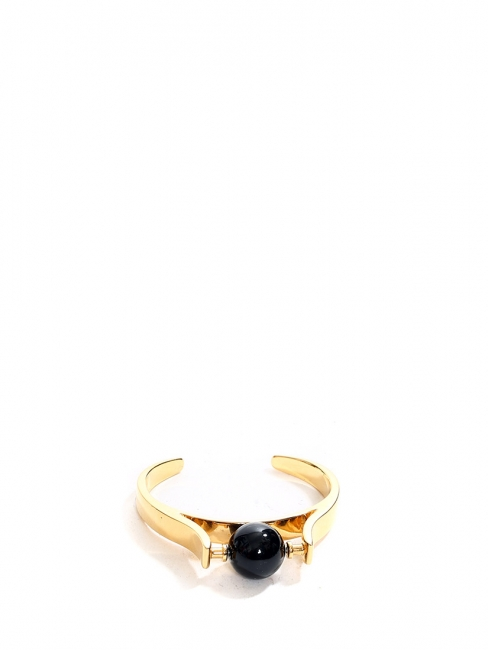 ABBY gold brass bracelet cuff with black stone NEW Retail price €590