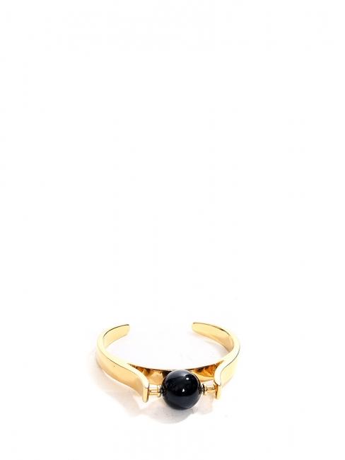 Bracelet manchette ABBY en laiton doré et pierre noire NEUF Prix boutique 590€