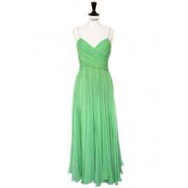Mid-length mint green silk chiffon heart shape décolleté and open back evening dress Retail price €2500 Size XS