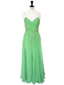 Mid-length mint green silk chiffon heart shape décolleté and open back evening dress Retail price 2500€ Size 38