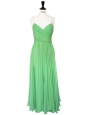 Mid-length mint green silk chiffon heart shape décolleté and open back evening dress Retail price €2500 Size XS