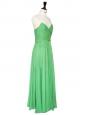 Robe de cocktail mi-longue en mousseline de soie vert menthe décolleté dos nu Px boutique 2500€ Taille 38