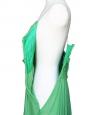 Mid-length mint green silk chiffon heart shape décolleté and open back evening dress Retail price 2500€ Size 38