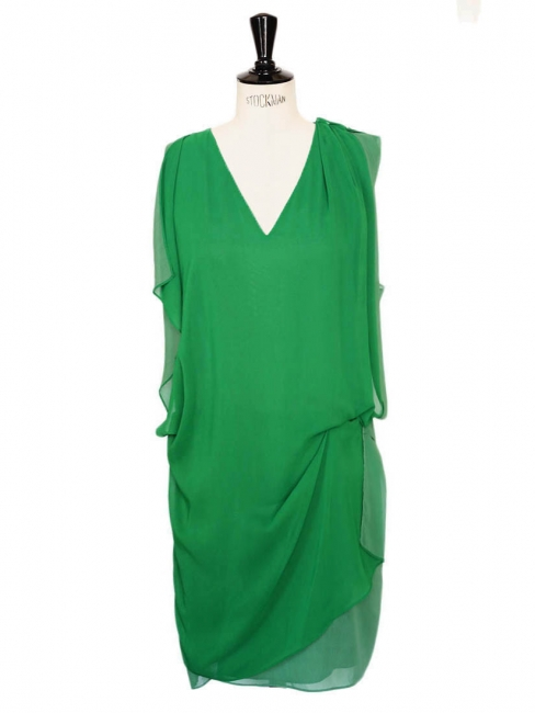 MALLORY Mint green fluid crepe dress Retail price €270 Size XS