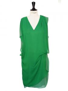 Robe fluide en crêpe vert menthe émeraude décolleté V Px boutique 270€ Taille 34/36